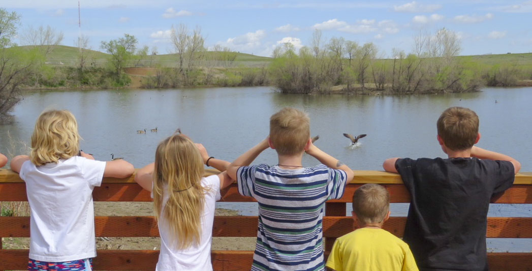 Students birdwatching