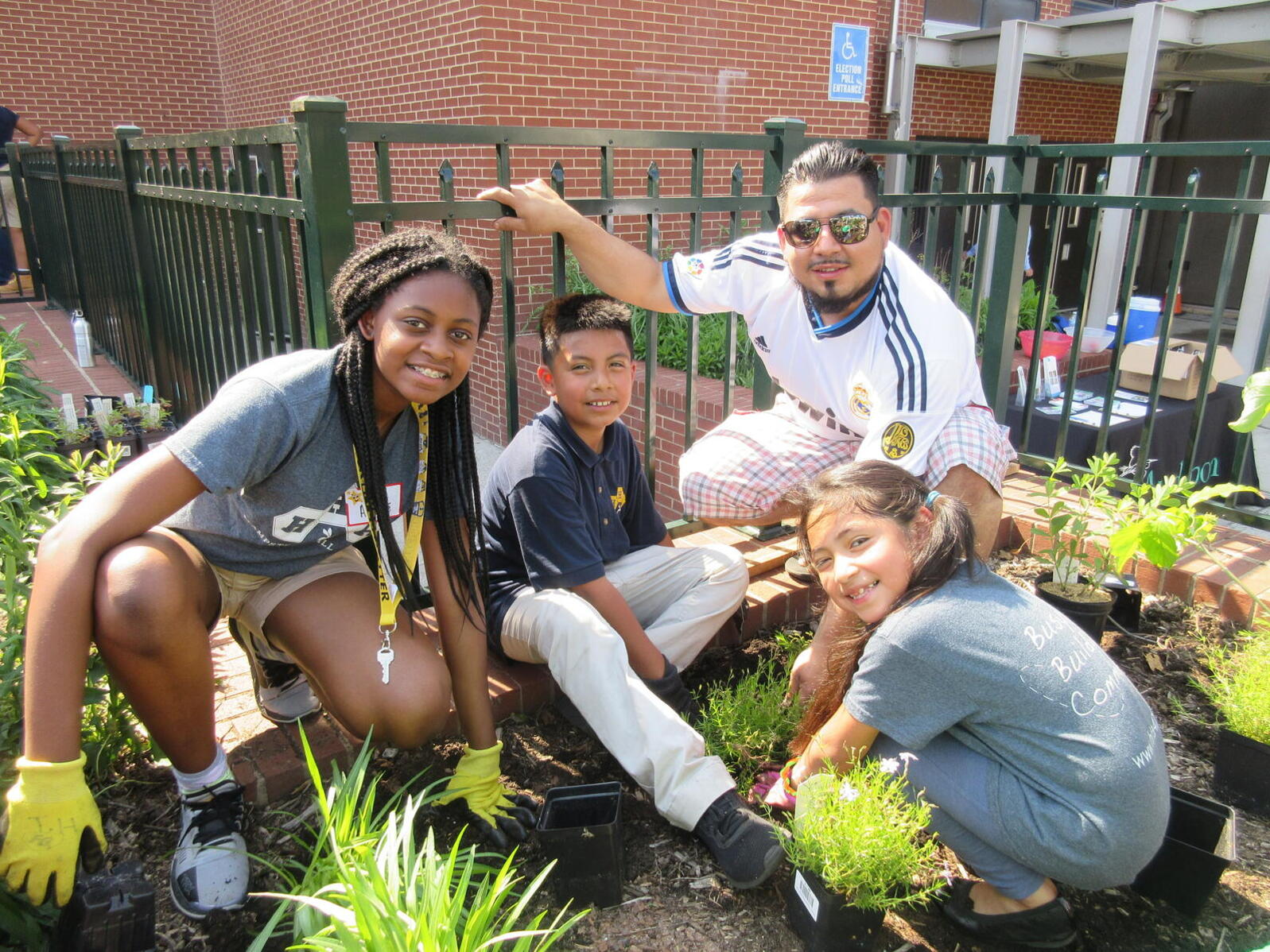 Patterson Park Audubon's Green Leaders helping with a native plant garden. Green Leaders is an after-school program for eco-minded middle schoolers grades 6-8 looking to get active about climate change.