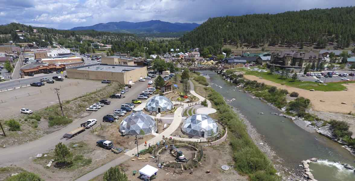 Aerial view of the new Habitat Hero garden at the Geothermal Greenhouse Partnership site.
