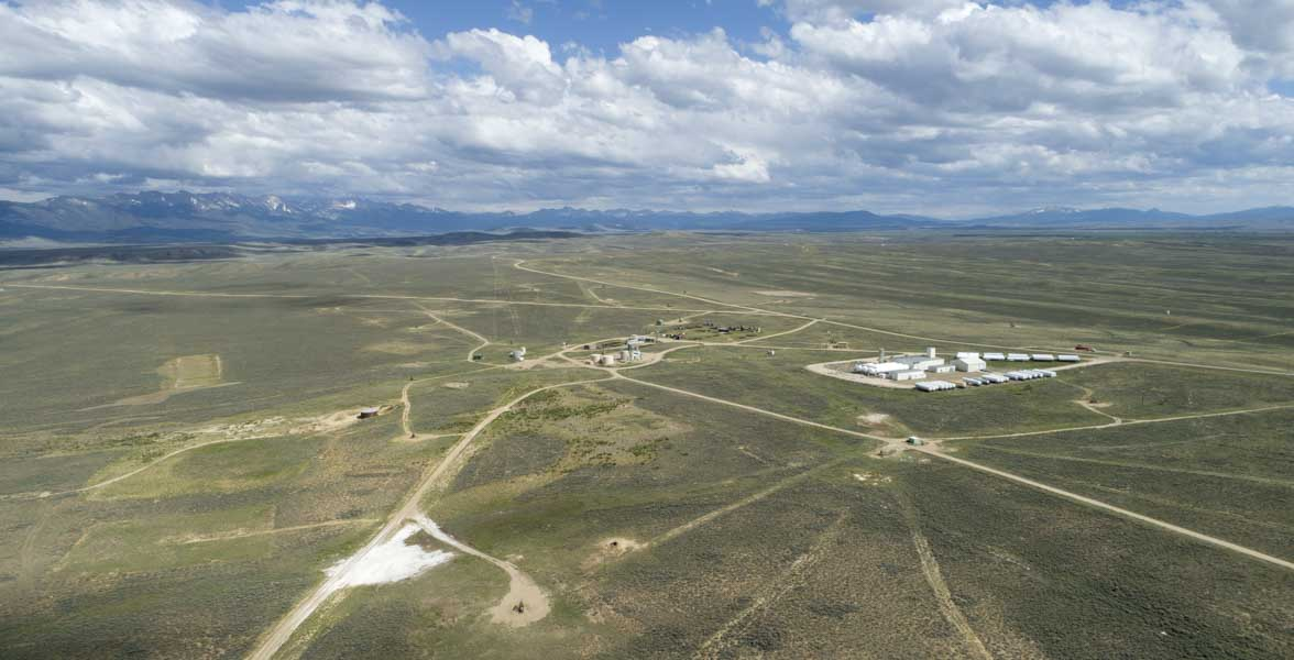 An aerial view of an oil and gas field.
