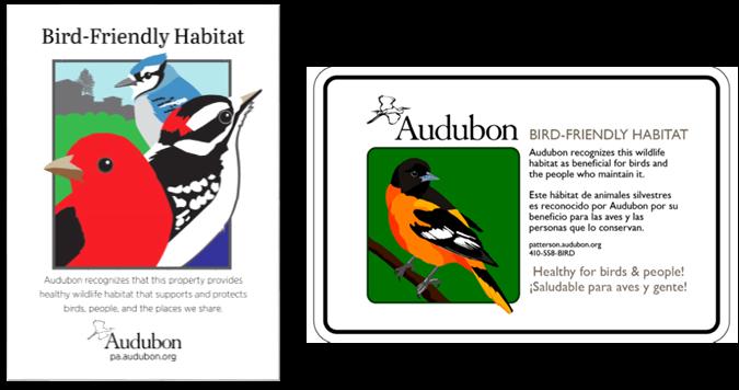 Audubon Mid-Atlantic Bird-Friendly Habitat Programs